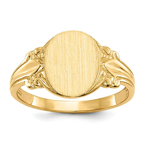 14k Yellow Gold Engravable Signet Ring (10.7mm x 8.3mm ()