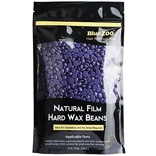 Bluezoo Lavender Stripless Professional Hot Film Hair Removal Hard Wax Beads for Depilatory on All kinds of Skin Types,250g/Bag