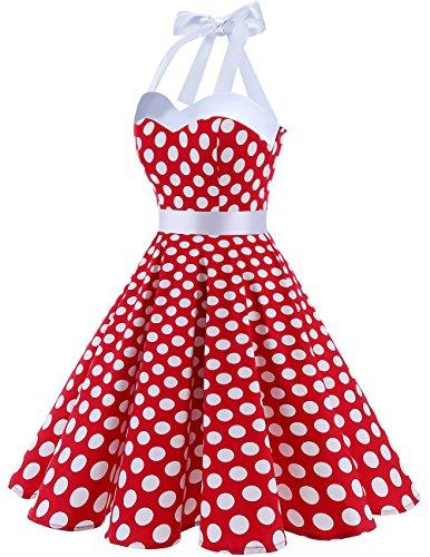 Cocktail Retro Dress Dots Dot Dress Audrey Polka 1950s DRESSTELLS White Red Rockabilly Vintage wq1gW8H
