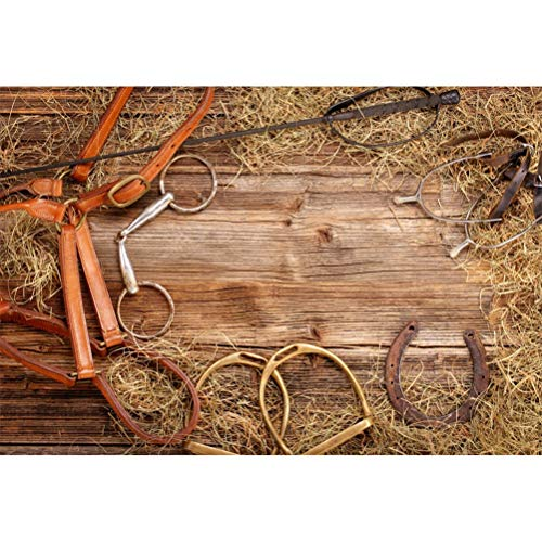 Laeacco 10x8ft Set of Horse Equipment On Rustic Wood Plank Vinyl Photography Background Equestrian Horseshoe Stirrup Hay Backdrop Western Cowboy Racehorse Countryside Rural Studio Props