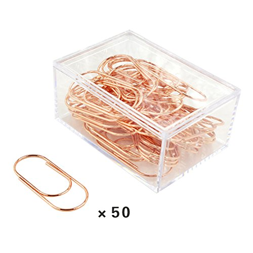 ieasysexy Europe and The United States Golden Paper Clip Office Material Storage Clip Creative Large Metal Bookmarks¬50 Units for a Box (Rose Golden) by ieasysexy