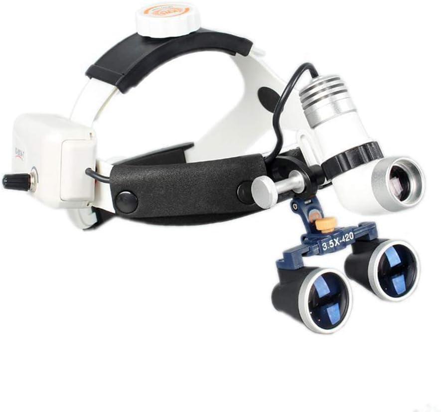 HyaPen Dental Quirúrgico Binocular Venda Lupas con Faros LED Gafas De Protección Marco Alto Aumentador Lentes para Cirugía Vascular, Ampliación: 3.5X