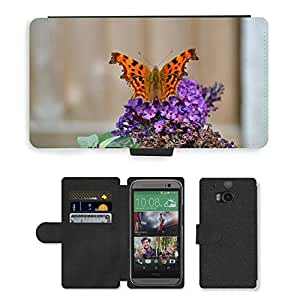 PU LEATHER case coque housse smartphone Flip bag Cover protection // M00134365 Comma Insecto Mariposa Naranja // HTC One M8