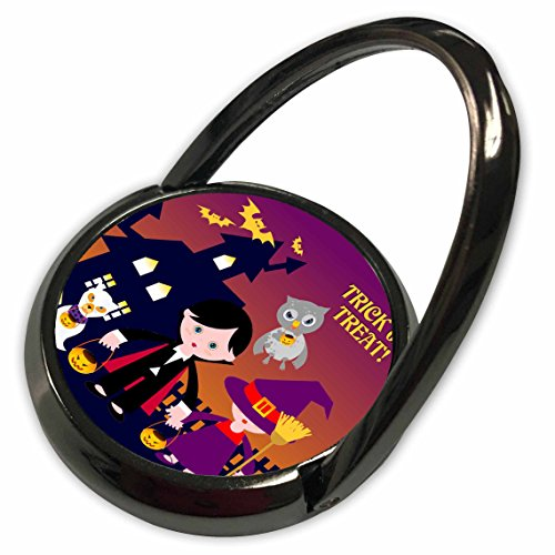 3dRose Belinha Fernandes - Halloween Celebration - Trick or treat message and dog ghost with kids dressed up in dracula and witch costumes - Phone Ring (Dracula Costume Images)