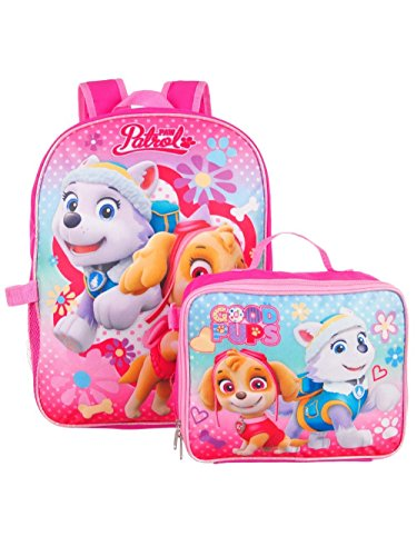 Paw Patrol Girls 15 Inch Backpack with Lunch Kit - Skye and Everest to the Rescue ()
