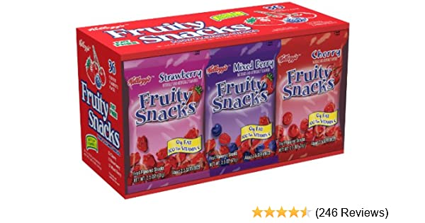 Kelloggs Fruity Snacks 36 Pouch Variety Pack Net Wt. 5lb 10oz