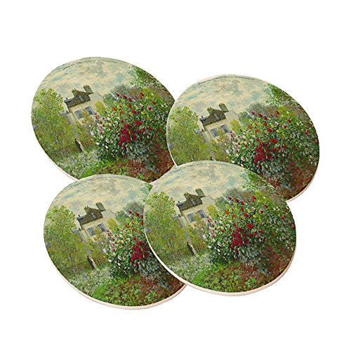 Claude Monet The Artist's Garden In Argenteuil - Round Sandstone Drink Coaster (set of 4) by Elements of Space