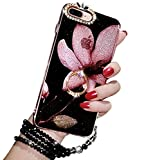 iPhone 7 Plus Kickstand Case, Luxury Bling Glitter Soft TPU Gel Beauty Shiny Flower Cute Candy Protective Cover Case for Girls with Wrist Strap (iPhone 7 Plus, Violet)