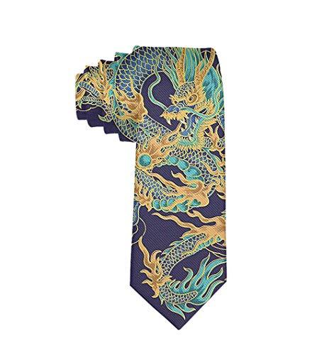 Gentleman Tie Tradition Chinese Dragon Design Necktie, Wedding Business Graduation Party Dress Ties ()