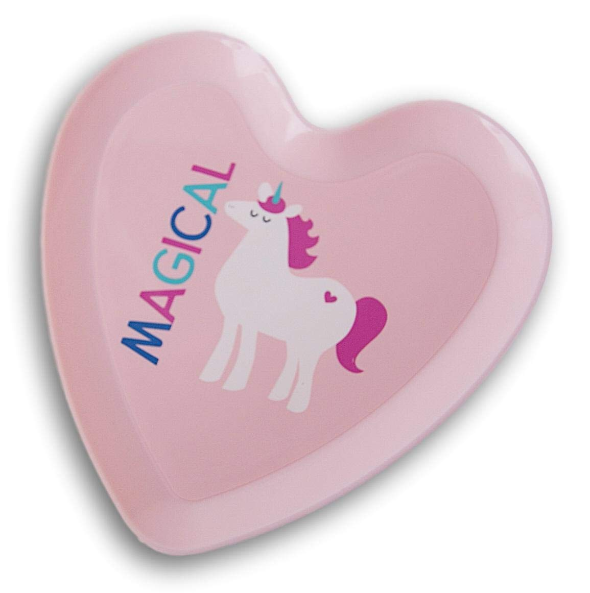 Magical Heart Shaped Unicorn Patterned Kids Plate 9 x 9 Inches