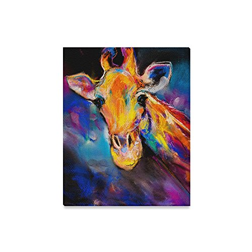 InterestPrint Modern Art Giraffe Animal Pastel Painting Canvas Prints Wall Art Wood Framed Abstract Artwork for Home Office Decoration, 16 x 20 (Pastel Animals)