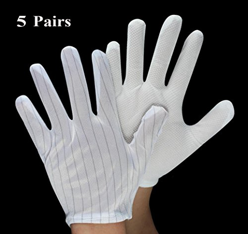 BeeChamp 5 Pairs Anti-Static Rubber Latex Grip Gloves for PC Building Electronic Repairing