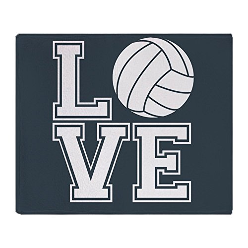 CafePress Love Volleyball, Charcoal Gray, Square Soft Fleece Throw Blanket, 50