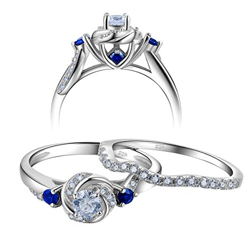 Newshe Engagement Wedding Ring Set For Women 925 Sterling Silver 0.8ct Round White Cz Blue Size ()