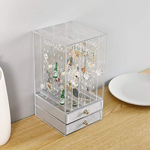 Cq acrylic Jewelry Box and Earring Holder Jewelry Hanging Organizer,Pull-Type dustproof Acrylic Earring Screen Display Stand Hanging Earrings Bracelets Necklaces Pack of 1