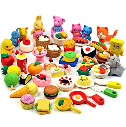 Chris-Wang 40Pcs Assorted Color Mini Kawaii Cartoon Animal Artificial Food Cute Rubber Eraser School Stationery Supplies Toy for Children Day Gift Kids Party Favors (Cute Erasers For Girls)