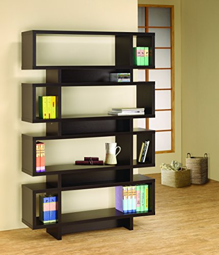 Asian Modern Furniture - Coaster Bookshelf, Cappuccino
