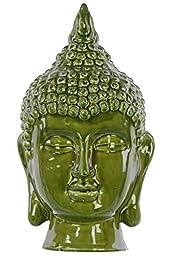 Urban Trends Ceramic Buddha Head Decor, Gloss Olive Drab