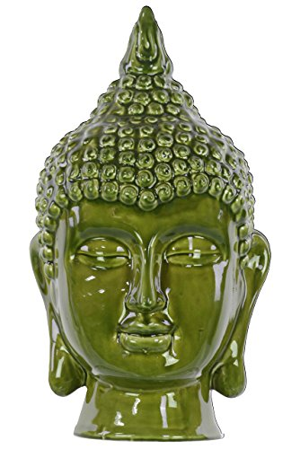 Urban Trends Ceramic Buddha Head Decor, Gloss Olive Drab