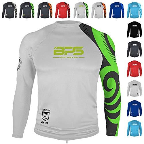 BPS Men's Long Sleeve Quick Dry Rash Guard UPF 50+ - White Lime, XL