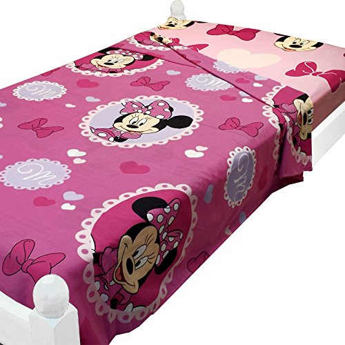 2pc Disney Minnie Mouse Twin Sheet Set Cameo Hearts Twin Flat and Fitted Sheets](Minnie Mouse Bedding Set Twin)
