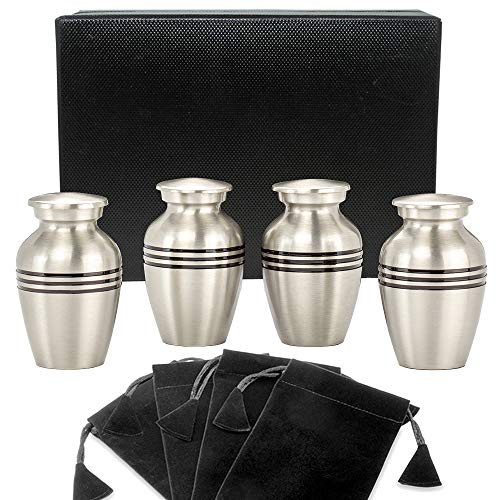 Pewter Keepsake - Grace and Mercy Pewter Small Keepsake Urn for Human Ashes - Set of 4 - Beautiful Humble and Comforting Quality Sharing Urns for Your Loved Ones Remains - with Satin Lined Case and 4 Pouches