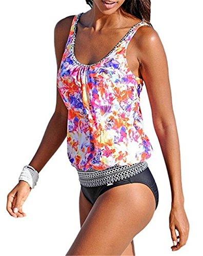 Happy Sailed Women Strappy 2 Piece Padding Fashion New Tankini Bikini Bottoms, X-Large Multicolored