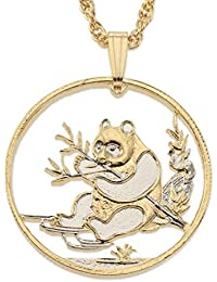 Chinese Panda Bear Pendant and Necklace, Hand Cut Chinese Coin, 14 K Gold and Rhodium Plated, 1