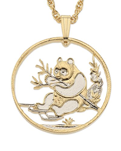 (Chinese Panda Bear Pendant and Necklace, Hand Cut Chinese Coin, 14 K Gold and Rhodium Plated, 1)