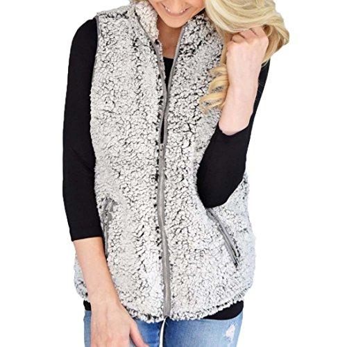 MOONHOUSE Women Winter Warm Fashion Fuzzy Fleece Vest Coat -Ziper Jacket Outwear Cardigan -Plus Size (Gray, M) -