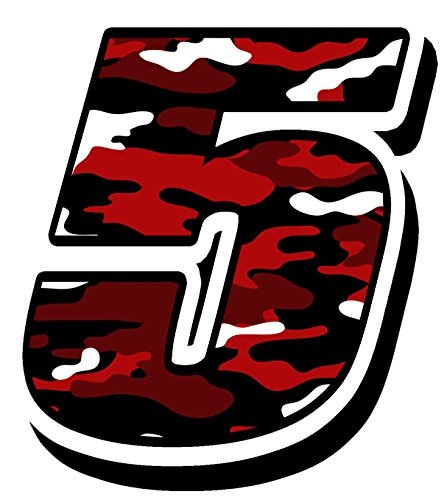 German Quality - Orafol PVC, hot laminate Start racing number nascar motocross motorbike sticker decal Red Military Camouflage 5 (Red Number Nascar)