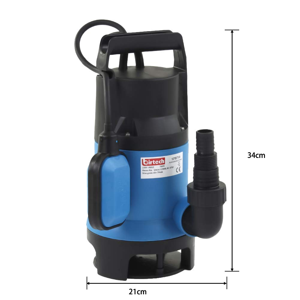 400W, 7500L//H, Lift 5m Heavy/Duty/Electric Submersible/Pump/Clean/and/Dirty/Water/Pump with Float Switch Flood Drain Garden Pond Pump