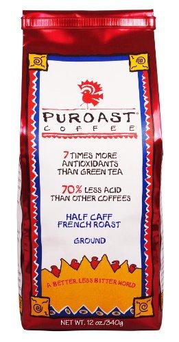 Coffee Beans Half Caff (Puroast Low Acid Coffee Half Caff French Roast Drip Grind, 12 Ounce Bag)
