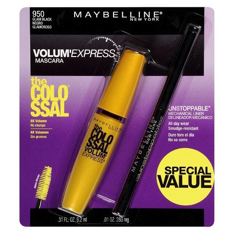 Amazon.com : Maybelline® New York Mascara and Unstoppable Liner (Maybelline® Volum Express® The Colossal Washable Mascara w/ Unstoppable Liner) : Beauty