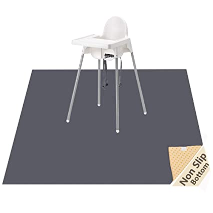 """Vinyl and Carpet from Spills BABYBOET Splat Mat for Baby 51/"""" x 51/"""" Waterproof Triple Layer Baby Mat with Anti-Skid Backing Deters Bunching and Sliding Under High Chair Floor Mat Protects Wood"""
