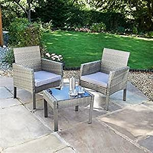 2 Seater Rattan Armchair Bistro Set with Cushions