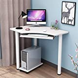 YQ WHJB Compact Corner Computer Desk,Computer Table with Keyboard Tray,Wood Home Office Desk Laptop Pc Writing Study Table Workstation-d
