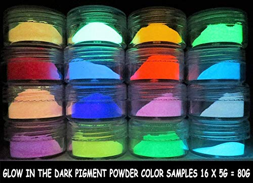 PRESTIGE GLOW IN THE DARK PIGMENT POWDER. LONGEST LASTING GLOW IN THE DARK POWDER. RECOMMENDED FOR ALL COLORLESS MEDIUM. INK. PAINT. PLASTIC RESIN. GLASS. ETC... (80g (16 x 5g), Sample Pack)