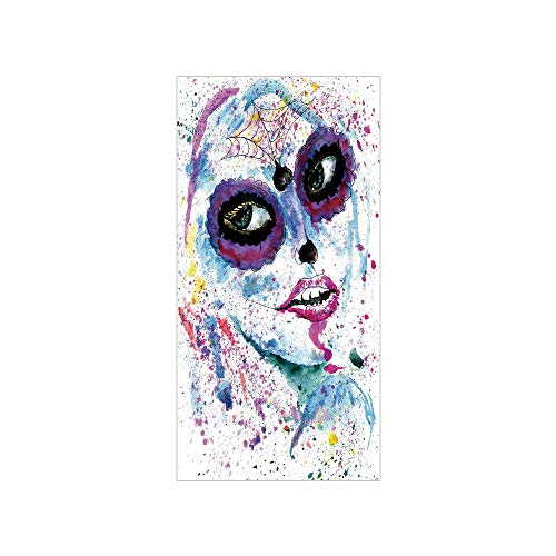 3D Decorative Film Privacy Window Film No Glue,Girls,Grunge Halloween Lady with Sugar Skull Make Up Creepy Dead Face Gothic Woman Artsy,Blue Purple,for -