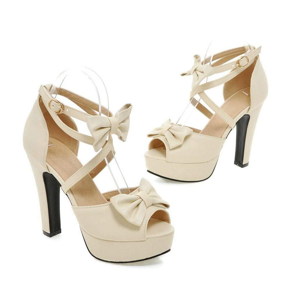 White JOYBI Women High Heels Sandals Cross Strap Buckle Slip On Ladies Sandal Bows Party Wedding Platform shoes