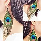 WensLTD_ 1 Pair Fashion Boho Style Peacock Feather Silvery Hook Women's Dangle Earrings Eardrop