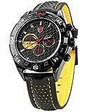 SHARK Fashion 6 Hands Black Leather Steel Case Army Sport Quartz Wrist Watch SH081