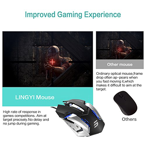 03f12832dfb LINGYI Gaming mouse, 6 Programmable Buttons, 4 Adjustable DPI Levels ...