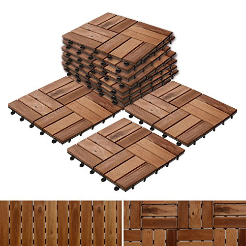 Teak Hardwood Flooring - Patio Pavers | Composite Decking Flooring and Deck Tiles | Acacia Wood | Suitable for Indoor and Outdoor Applications | Check Pattern | 12x12 inches - Pack of 11 Tiles