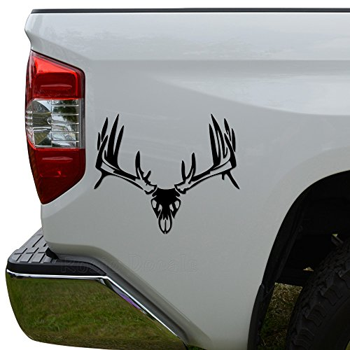 Deer Buck Antlers Skull Hunting Die Cut Vinyl Decal Sticker For Car Truck Motorcycle Window Bumper Wall Decor Size- [20 inch/50 cm] Wide Color- Gloss Black