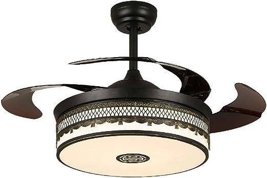 LXMJ Ventilador de Techo Ventilador de luz con luz LED Ventilador Inteligente Sigilo hogar Tres velocidades/Ajuste de Tres Colores Auge de Control de Pared de lámpara ...