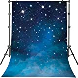 Mehofoto Starry Night Backdrops Blue Night Sky Photo Background for Party Newborn 5 x 7ft Vinyl Shining Star Photo Booth Backdrop