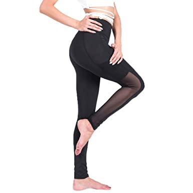 b2f9008a5e02f Myoumobi_Yoga Pants Side Pocket High Waist Women's Mesh Skinny Leggings  Fitness Workout Stretch Pant Black
