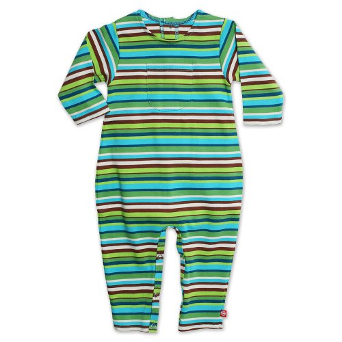 Zutano Unisex Baby  Multi Stripe Coverall, Chocolate, 12 Months