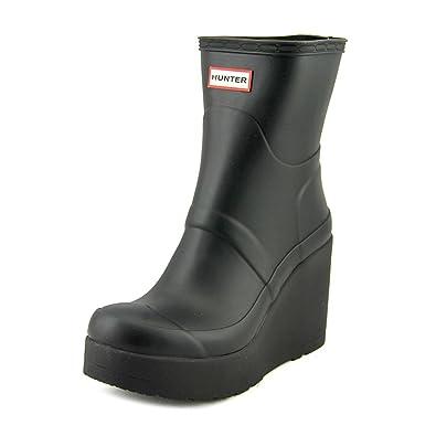 d6bb7cffb1f hunter Original Short Mid Wedge Women US 5 Black Rain Boot  Amazon ...